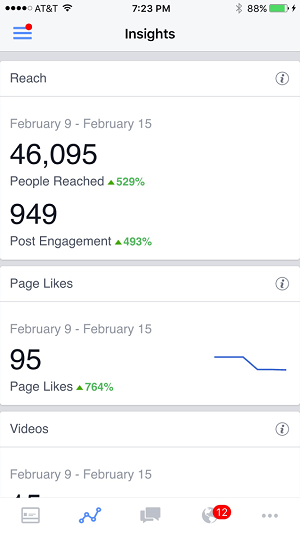 facebook insights in facebook pages manager app