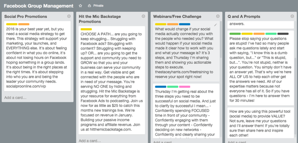 content lists on a trello board