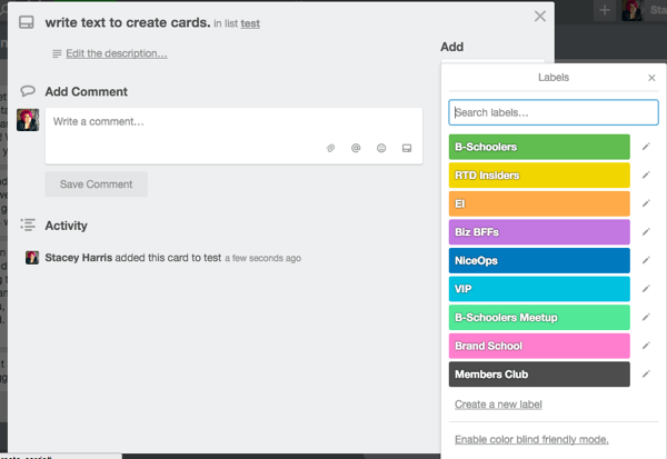 trello labels for facebook groups