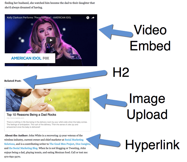 add interest to posts with video images links and headers