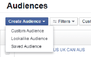 facebook ads audience create audience menu options