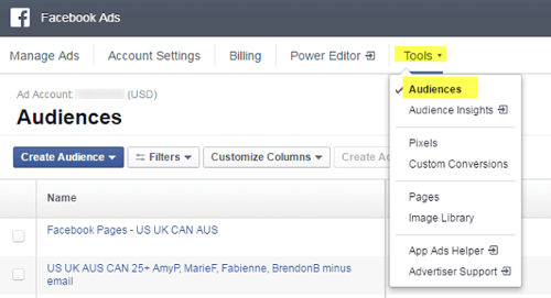 facebook ads menu showing audience under tools
