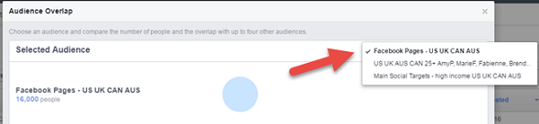 facebook ads overlap audiences main audience selection menu