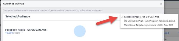 facebook ads overlap audiences main audience selection menu
