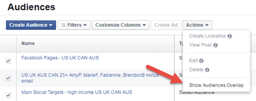 show audiences overlap selection in facebook ads audience menu