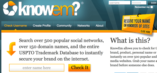 knowem provides a quick business or brand search