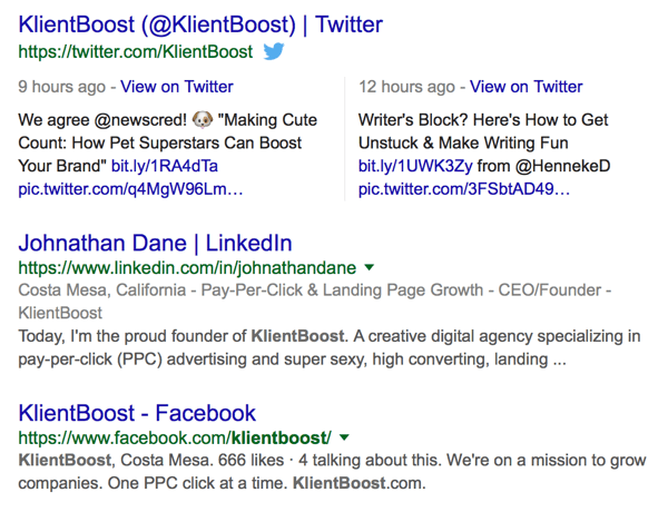 example of klientboost coverage on search engine results page serp