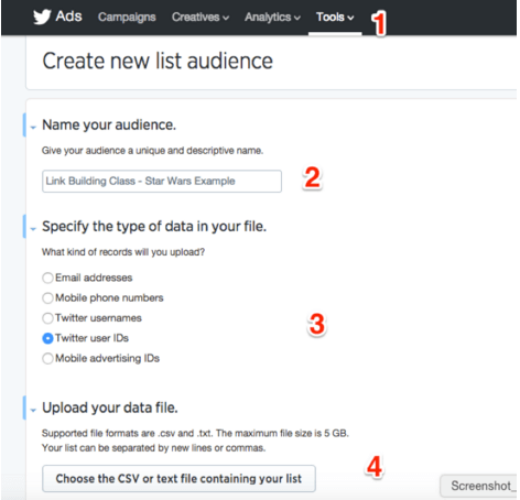 create tailored audience for twitter influencer list