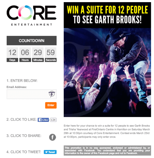 core entertainment social contest