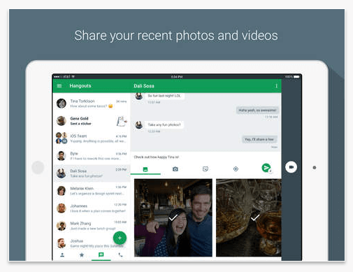 google hangout share extension for iOS