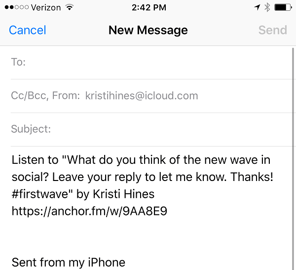 email anchor wave link to yourself