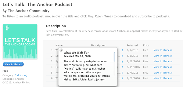 anchor community podcast with waves on itunes
