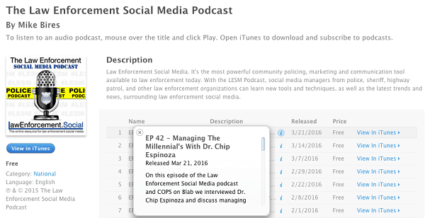 law enforcement social media blabs uploaded to itunes as podcasts