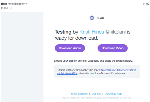 blab sample email with audio recording after broadcast