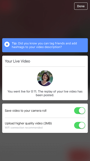 facebook profile live video option to save video