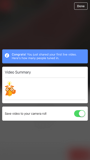 facebook page live video option to save video