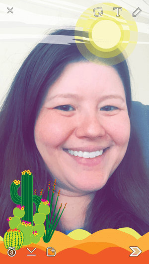 downloaded snapchat selfie with geofilters
