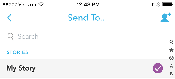 sent photo or video to snapchat story