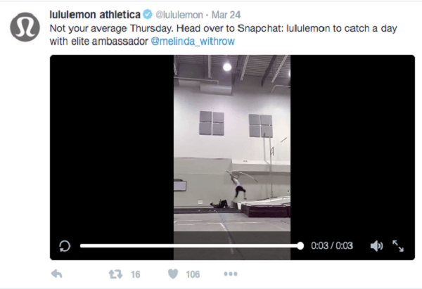 lululemon snapchat video preview on twitter
