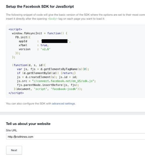 add facebook app code to website