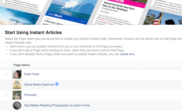 facebook instant articles select page