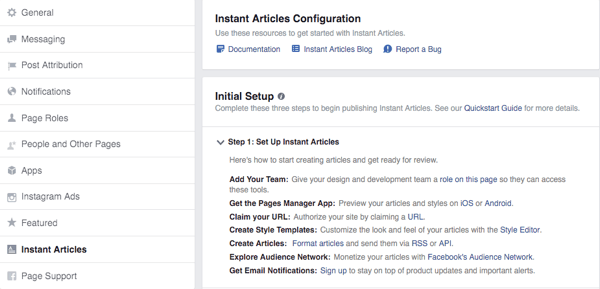facebook instant articles configuration screen