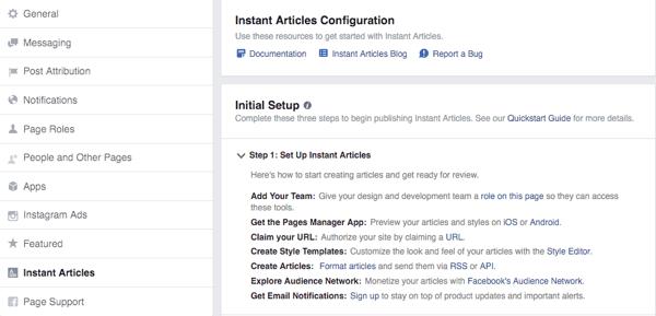 Trên đây là khung cài đặt của Instant Articles