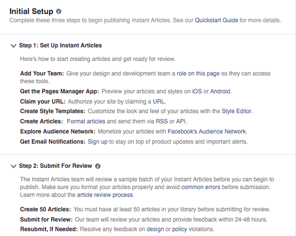 facebook instant articles setup guide
