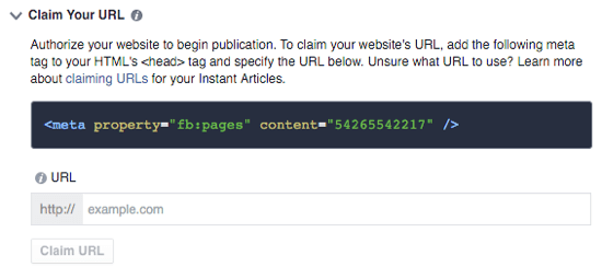 facebook instant articles claim url