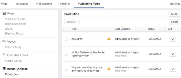 facebook instant articles publishing tools