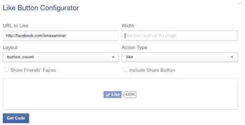 facebook like button set to page