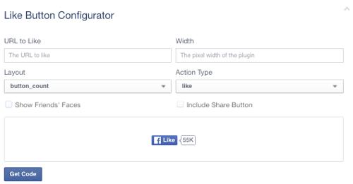 facebook like button configuration