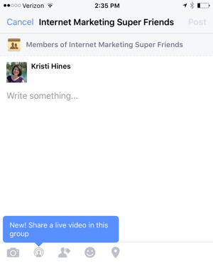 facebook live video group