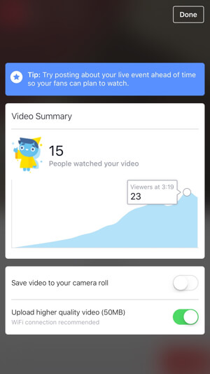 facebook live video insights for pages
