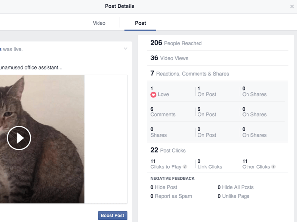 facebook live video post insights