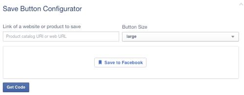 facebook save button set to blank url