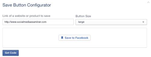 facebook save button set to url