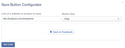 facebook save button set to page