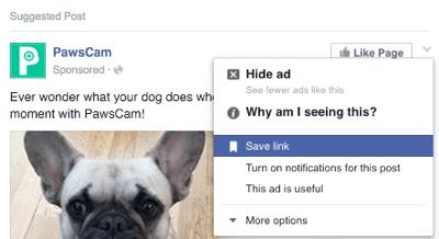 facebook save option