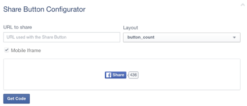 facebook share button set to blank url