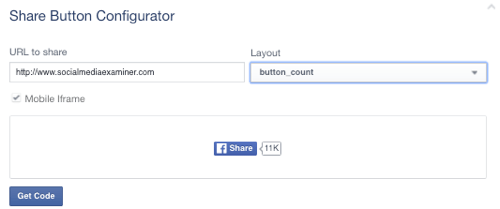 facebook share button set to url