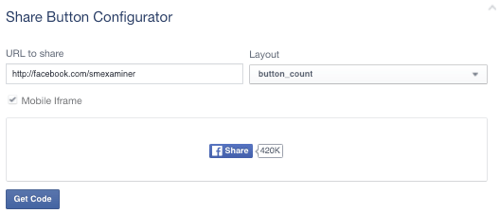 facebook share button set to facebook page