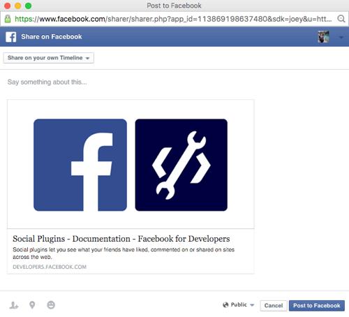 facebook share button popup