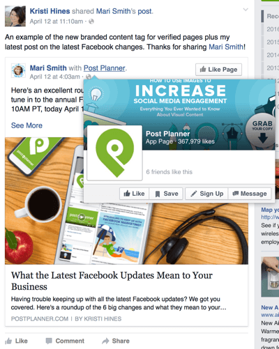 facebook shared branded content