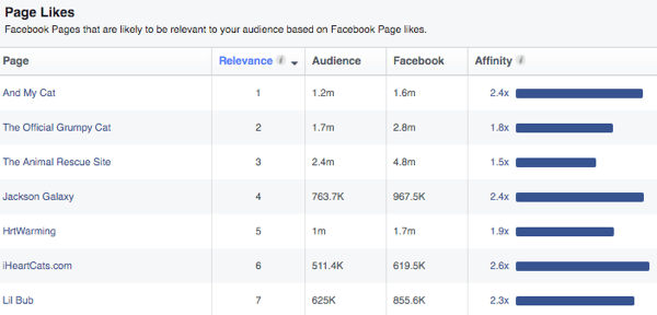 facebook top pages for interests