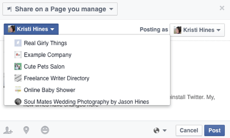 choose facebook page to share post to