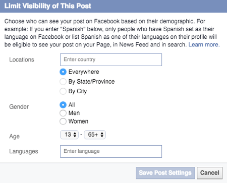 limit visibility of shares to facebook page