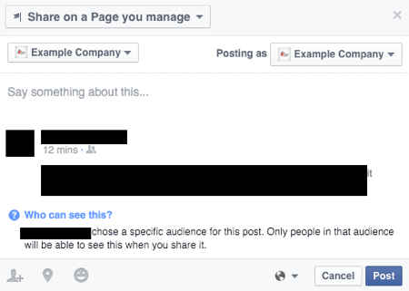 limitations when sharing nonpublic facebook posts