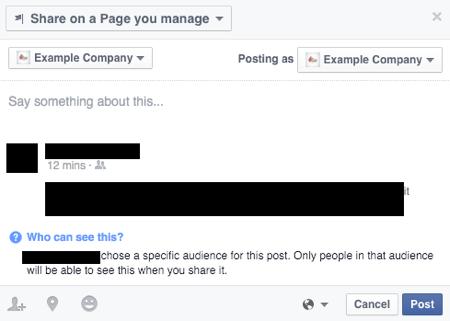 limitations when sharing nonpublic facebook posts