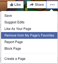 unlike facebook page as your page